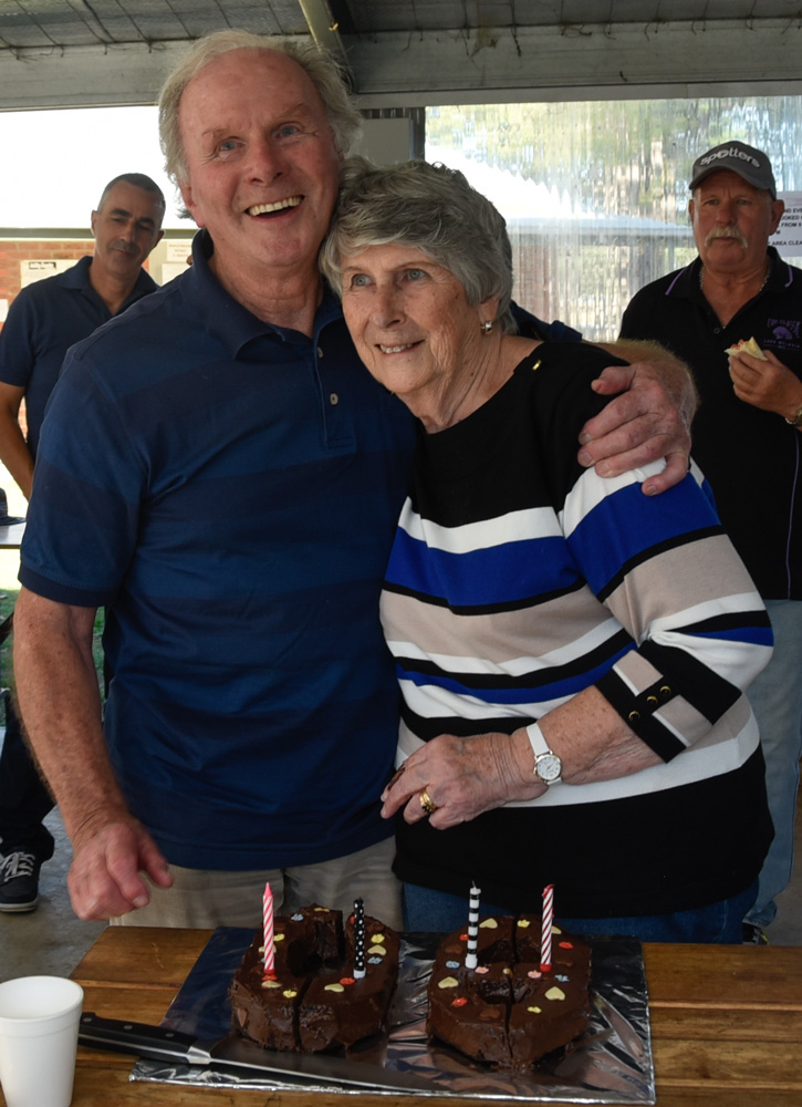 Life Members, Val and Ron Goldsmith celebrating their 80th Birthdays at the National Show in April 2018